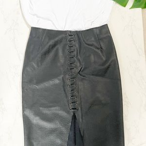 H&M Vegan Leather Pencil Skirt with Lacing Detail